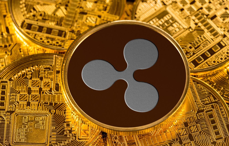 Фото обои размытие, монета, coin, ripple, cryptocurrency, рипл