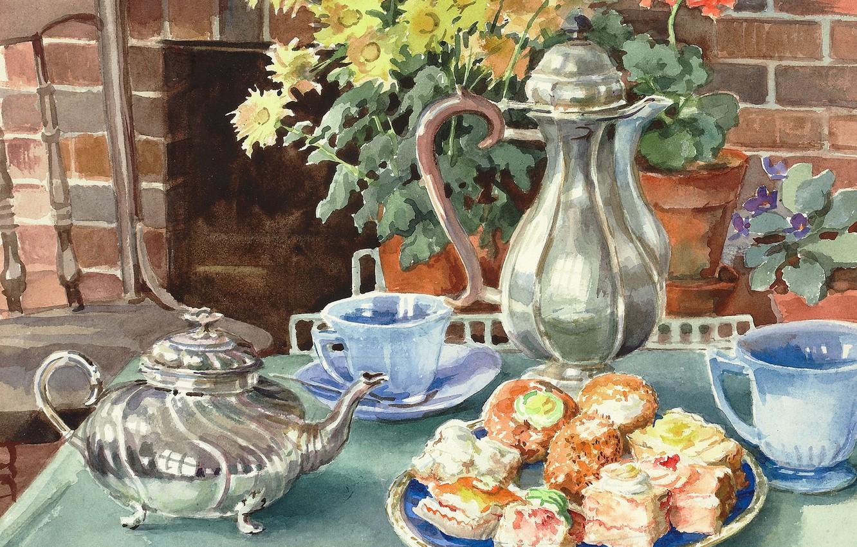 Обои цветы, натюрморт, сервиз, тарелка, стол. Разное foto 15