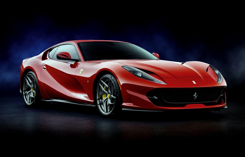 Фото обои красный, Ferrari, Superfast, 812