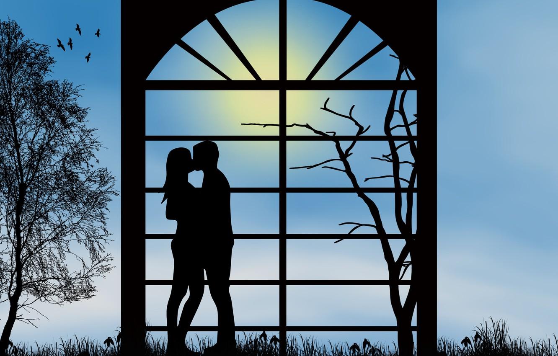 Фото обои любовь, романтика, поцелуй, вечер, пара, отношения, силуэты, свидание