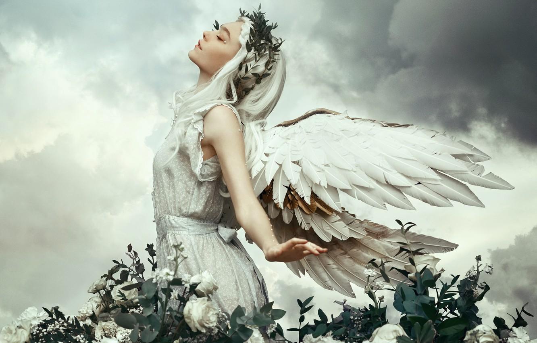 Фото обои девушка, природа, ангел
