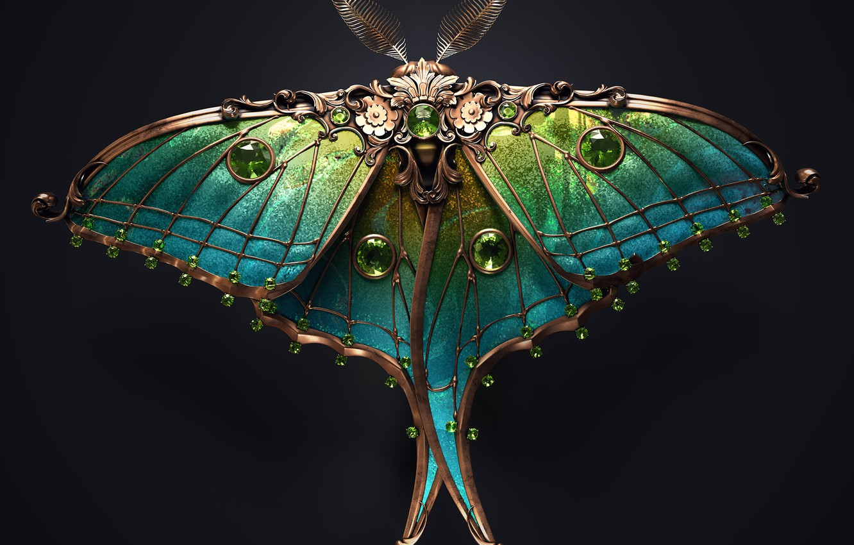 Фото обои minimalism, butterfly, artist, rendering, digital art, artwork, black background, insect, jewel, copper, emeralds, Sasha Vinogradova