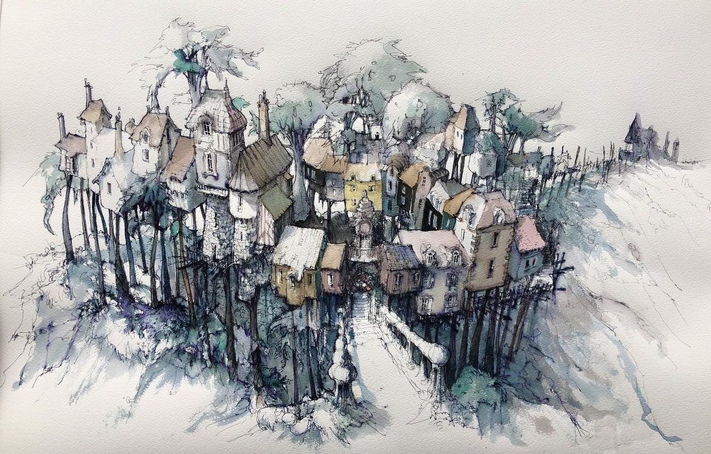 Фото обои город, рисунок, дома