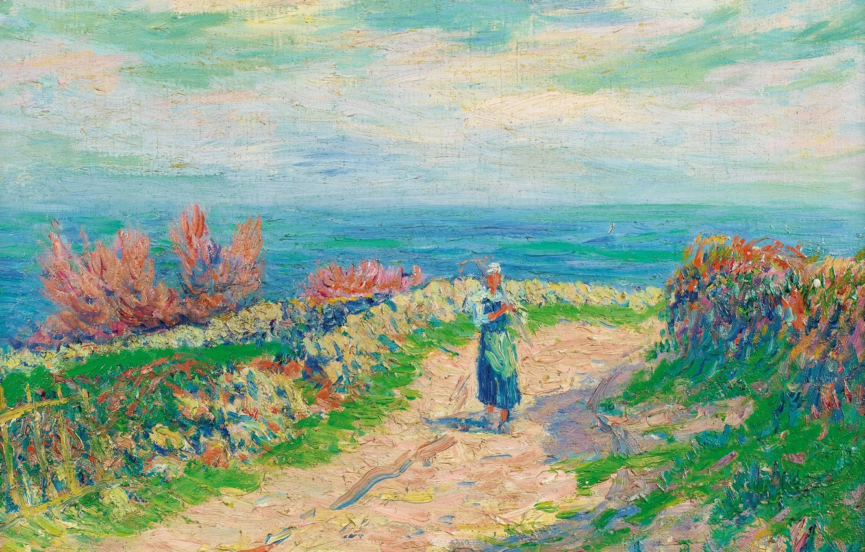Фото обои пейзаж, картина, Анри Море, Henry Moret, Дорога у Моря