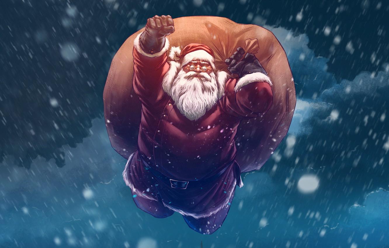 Фото обои Зима, Рисунок, Снег, Рождество, Фон, Новый год, Санта, Борода, Праздник, Санта Клаус, Арт, Christmas, Art, …