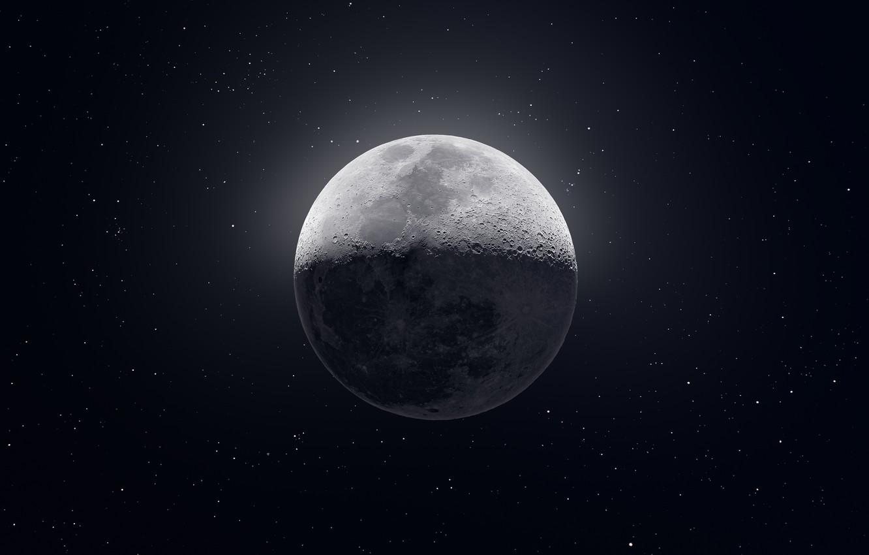 Фото обои Moon, Stars, Space
