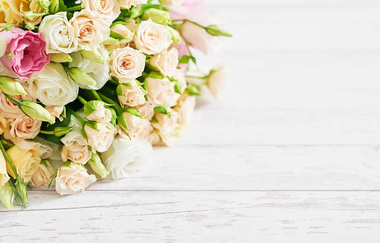Фото обои цветы, розы, букет, эустома