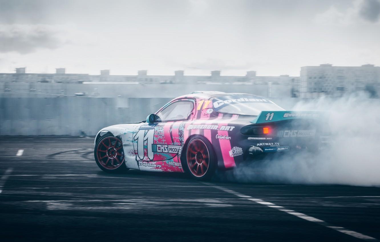 Фото обои дым, дрифт, Mazda, drift, RX-7, 2019, by RaY29rus