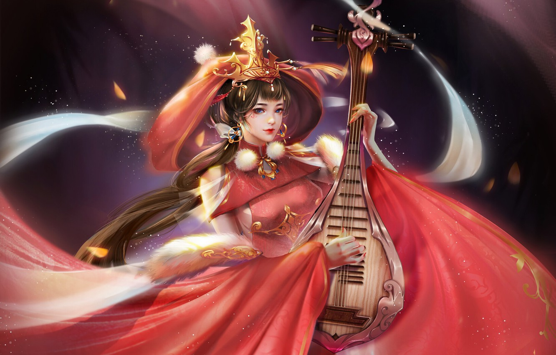 Фото обои Девушка, Музыка, Стиль, Азиатка, Girl, Платье, Азия, Арт, Art, Music, Asian, Style, Illustration, Asia, Characters, …