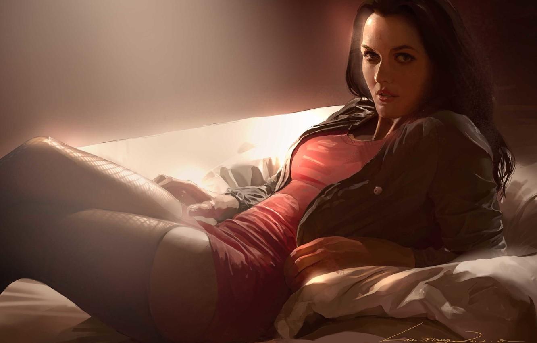 Фото обои взгляд, женщина, брюнетка, куртка, красное платье, art, флирт, чулки в сетку, лежит на постели, Lu …