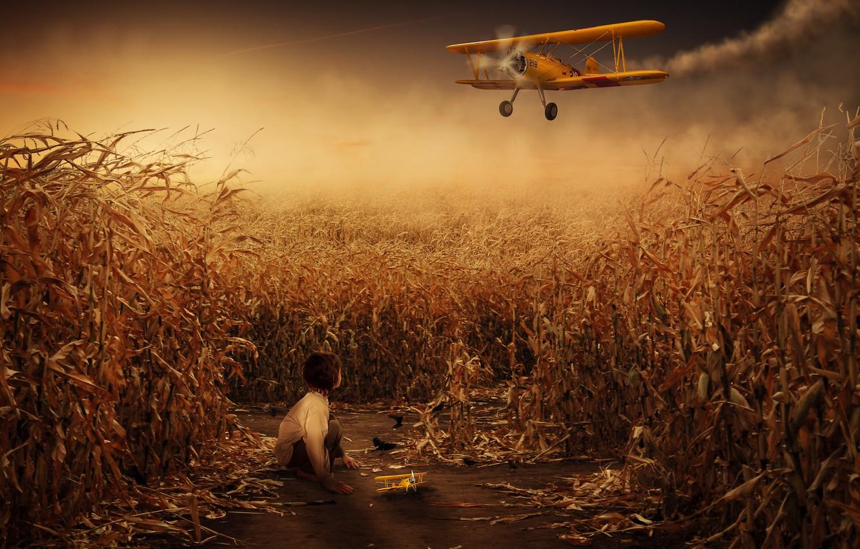 Фото обои fantasy, composite, toy plane