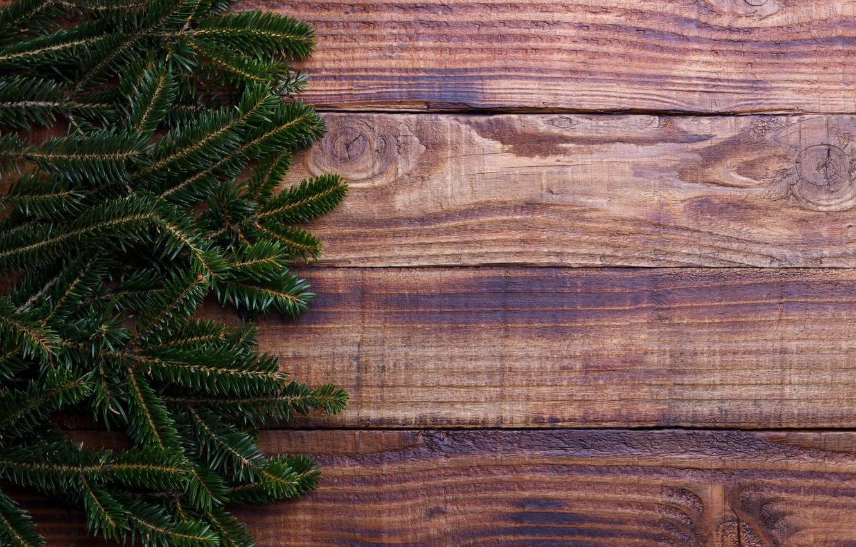Фото обои фон, дерево, доски, елка, Christmas, wood, background, fir tree, ветки ели
