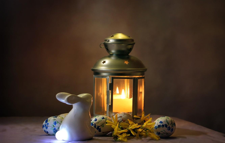 Фото обои праздник, лампа, свеча, яйца, кролик, пасха, фонарь, фигурка, композиция, Ковалёва Светлана