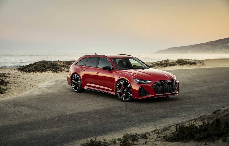 Фото обои красный, Audi, побережье, универсал, RS 6, 2020, 2019, V8 Twin-Turbo, RS6 Avant
