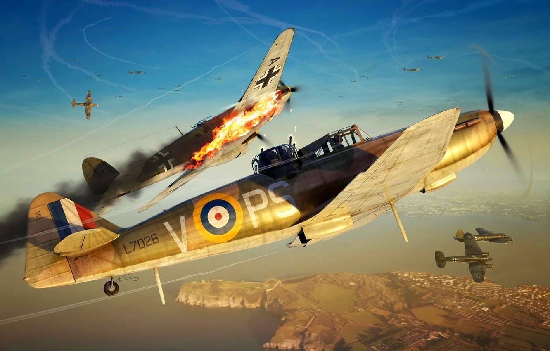 Фото обои истребитель, Бомбардировщик, He 111, Heinkel 111, Boulton Paul Defiant Mk.I, Defiant Mk.I
