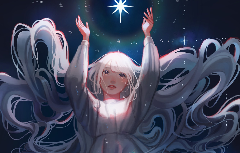 Фото обои небо, ночь, рисунок, звезда, длинные волосы