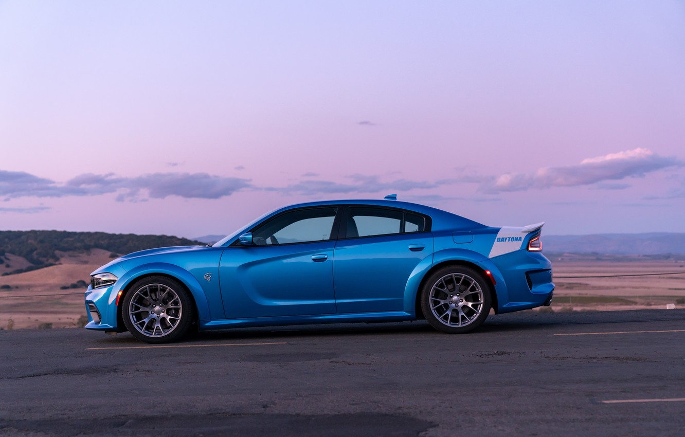 Фото обои закат, вечер, Dodge, вид сбоку, Charger, Hellcat, SRT, Widebody, 2019, Daytona 50th Anniversary