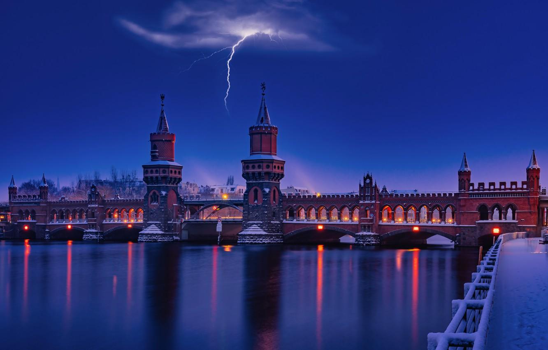 Фото обои гроза, ночь, мост, река, молния, набережная, Germany, Берлин, Berlin, Обербаумбрюкке, River Spree, Oberbaum Bridge, Гнрмания, …