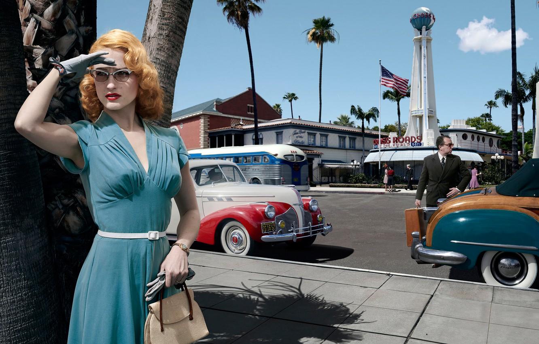 Фото обои дорога, авто, девушка, машины, город, платье, очки, Лос-Анджелес, Joyce Harwood