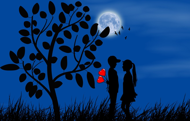 Фото обои луна, романтика, мальчик, девочка, сердечки, силуэты, свидание, первая любовь
