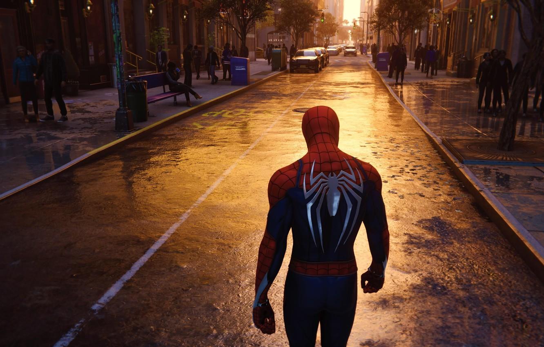 Фото обои New York, 2018, Game, Spider Man, PS4