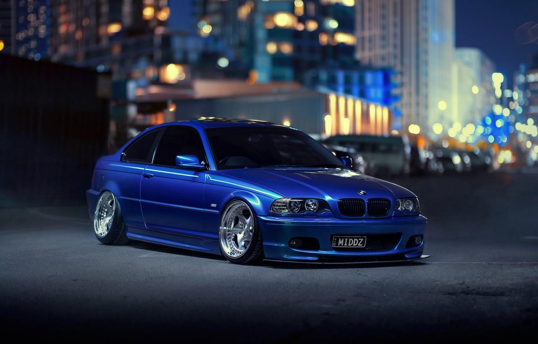 Фото обои ночь, город, огни, BMW, blue, боке, E46, 3-Series