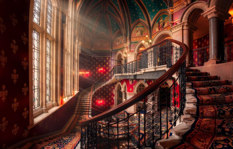 Фото обои лучи, окно, лестница, rays, window, stairs, Hernan Calderon Velasco, St. Pancras Renaissance London Hotel