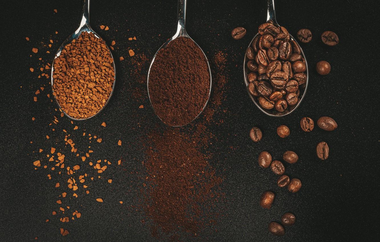Фото обои кофе, зерна, черный фон, coffee, grains, black background, ложки, молотый, ground, spoons, granulated, гранулированный