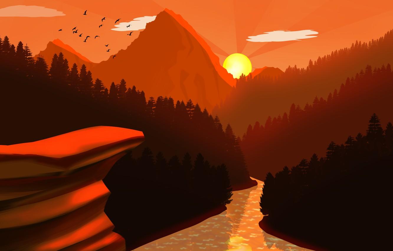 Фото обои forest, river, trees, landscape, nature, Sunset, art, mountains, birds, sun, digital art, artwork