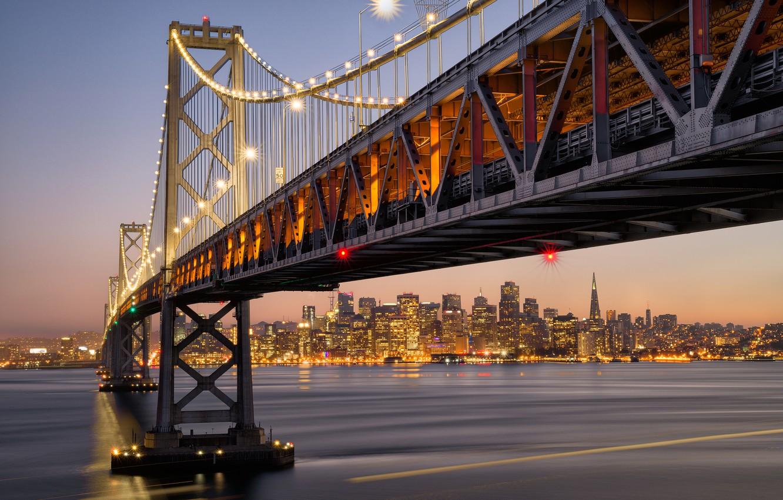 Фото обои мост, город, огни, Калифорния, США, Сан - Франциско