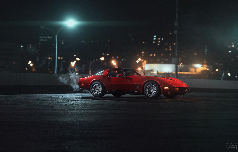 Фото обои Красный, Авто, Corvette, Chevrolet, Машина, Chevrolet Corvette, 1980, Chevrolet Corvette C3, Mikhail Sharov, Transport & ...