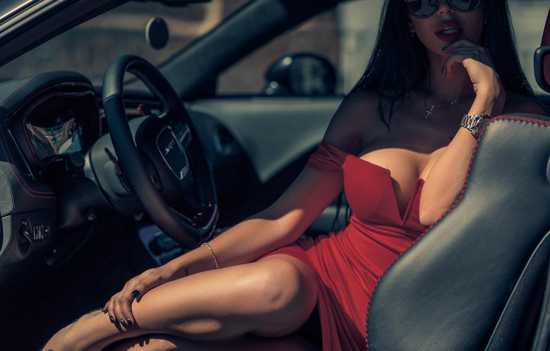 Фото обои машина, грудь, Девушка, очки, Dodge Challenger SRT, Louis de Navarre, Анна Левченко