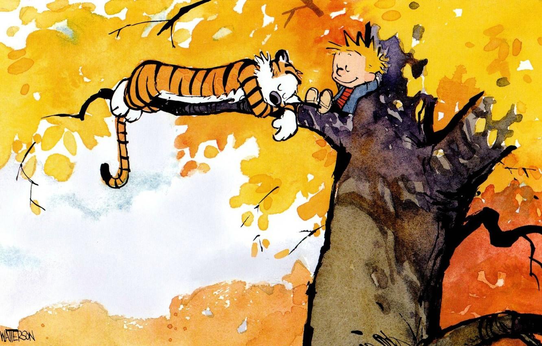 Фото обои тигр, дерево, листва, ребенок, сон, мальчик, комикс, Calvin and Hobbes, Кельвин и Хоббс, Кельвин, Хоббс, …