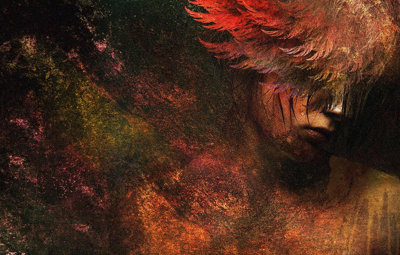 Фото обои colors, colorful, digital, woman, art, wings, angel, painting, sad girl, sad angel