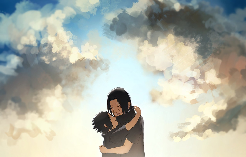 Фото обои радость, братья, naruto, sky, art, Itachi Uchiha, Sasuke Uchiha, by Ns7104, Uchiha brothers