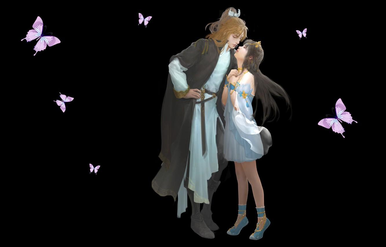 Фото обои любовь, поцелуй, аниме, арт, пара, свидание, Uh........, Du Hugh. Y