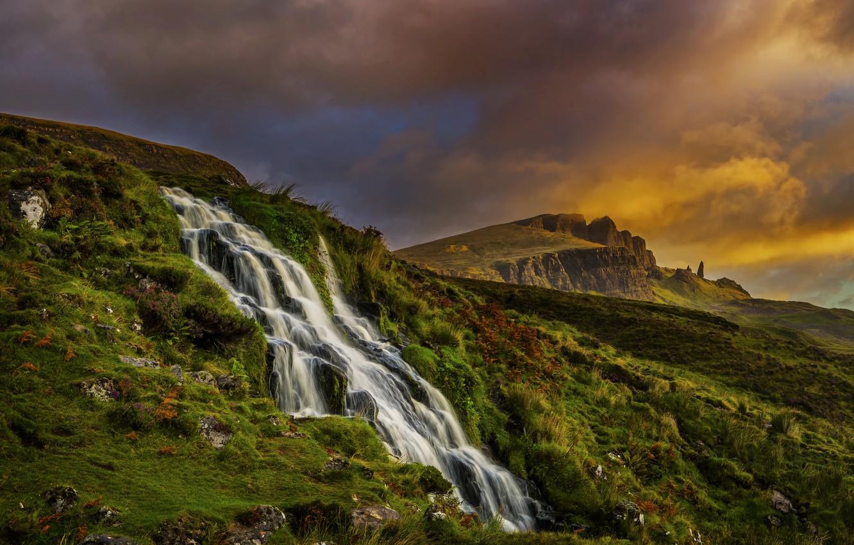Фото обои облака, пейзаж, горы, природа, водопад, утро, Шотландия