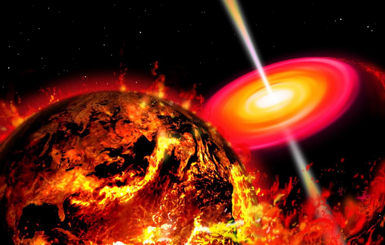 Фото обои пространство, огонь, земля, апокалипсис, планета
