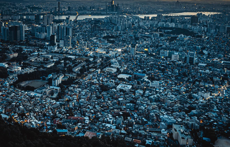Фото обои город, панорама, Сеул