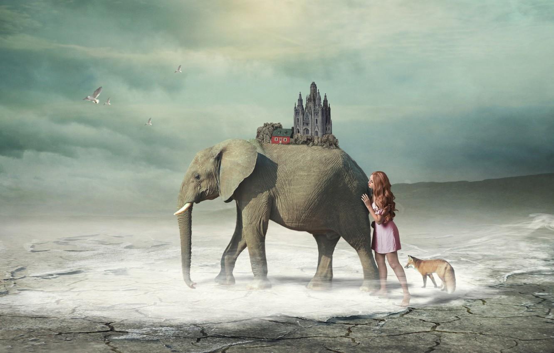 Фото обои девушка, фантазия, слон, арт, лиса
