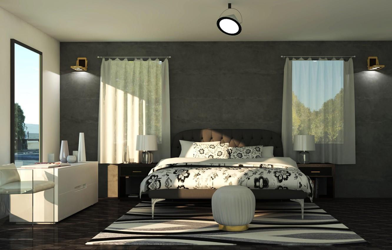 Фото обои лампы, комната, окна, кровать, интерьер, постель, спальня, светильники