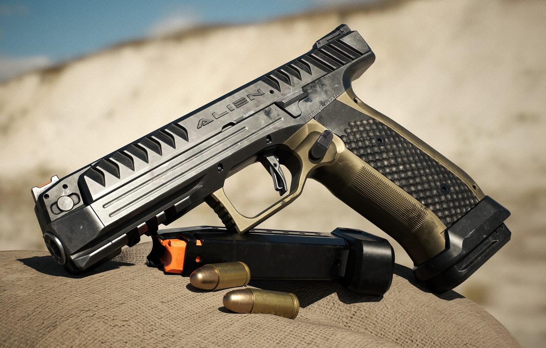 Фото обои пистолет, оружие, pistol, weapon, Alien, render, Алиен, Лауго, Laugo