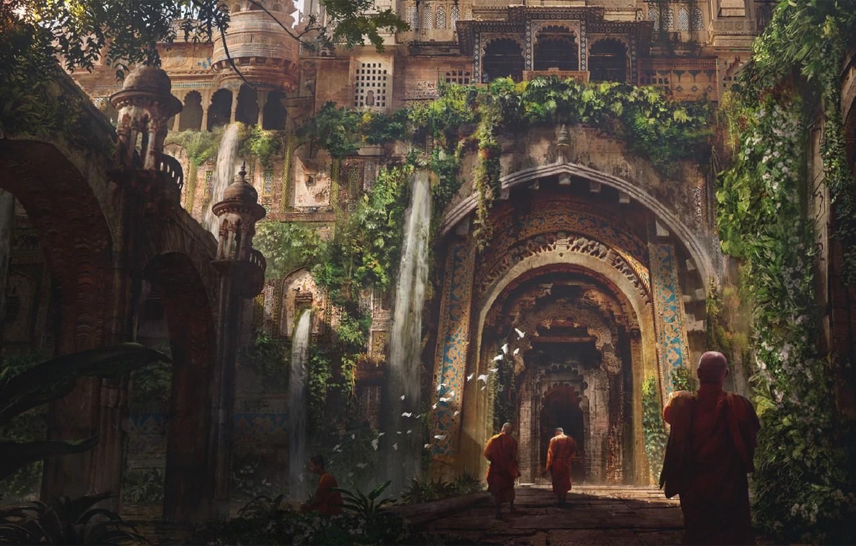Фото обои дорога, птицы, Индия, колонны, арки, архитектура, монахи, buddah, by Eddie Mendoza, буддийский храм