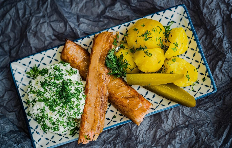 Фото обои укроп, мясо, огурцы, сметана, картофель