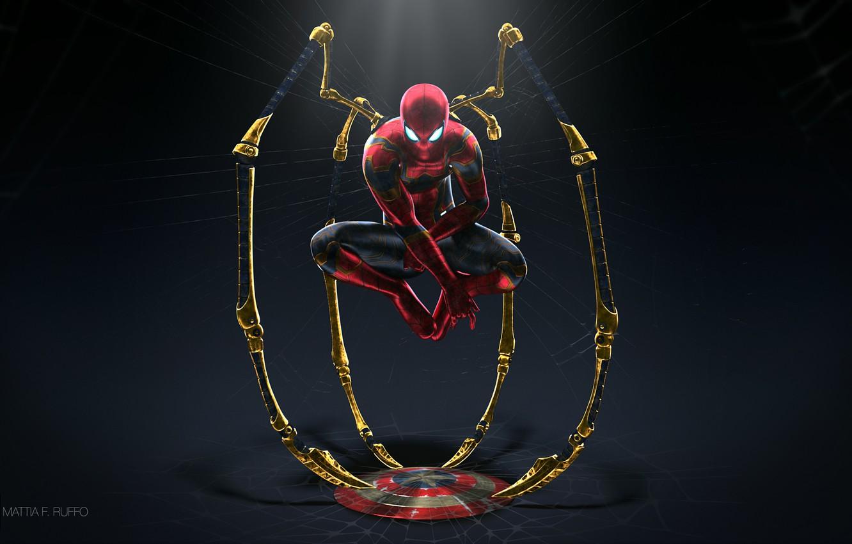Фото обои фантастика, паутина, арт, костюм, полумрак, щит, супергерой, комикс, Человек-паук, Spider-Man, Iron Spider, Mattia Ruffo