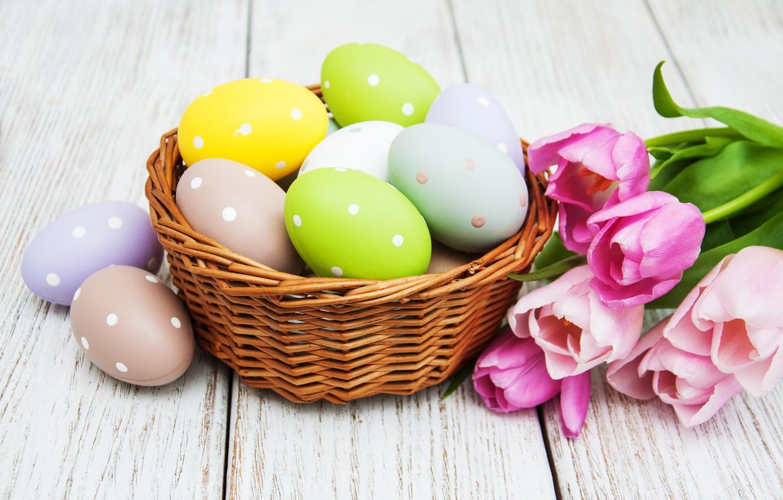 Фото обои цветы, яйца, colorful, Пасха, тюльпаны, happy, wood, pink, flowers, tulips, Easter, purple, eggs, decoration, basket