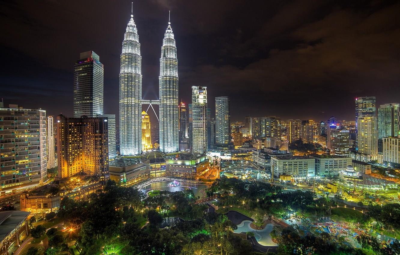 Фото обои пейзаж, ночь, огни, парк, Малайзия, Куала-Лумпур