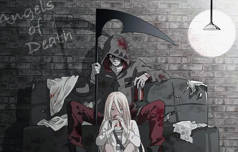Фото обои light, girl, wall, fantasy, bricks, anime, boy, couple, artwork, couch, angel of death, hood, bandages, …