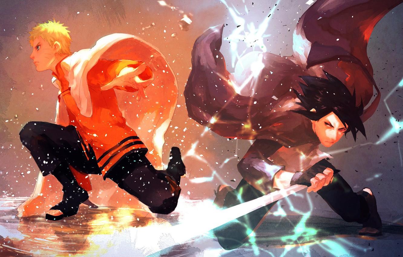 Фото обои молния, меч, сражение, плащ, друзья, ninja, Sasuke Uchiha, shinobi, Naruto Uzumaki, Naruto Shippuden, Саске Учиха, …
