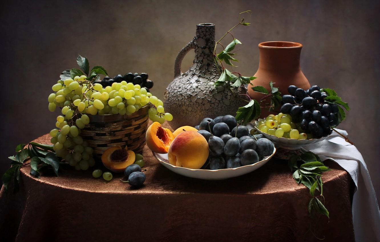 Фото обои виноград, натюрморт, персики
